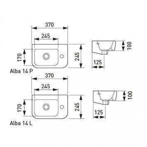 Alba 14 aszimmetrikus kerámia mosdó, balos beépítéssel