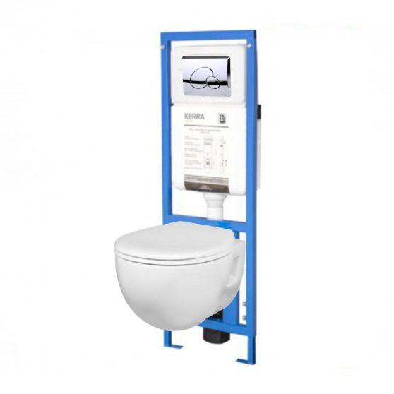 Amelia falba építhető WC tartály szett, Amelia WC-vel, fehér soft-close ülőkével, nyomógombbal