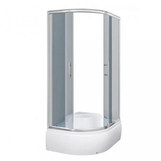 Azalia 100 íves aszimmetrikus mélytálcás zuhanyhabin, balos beépítéssel, grafit üveggel