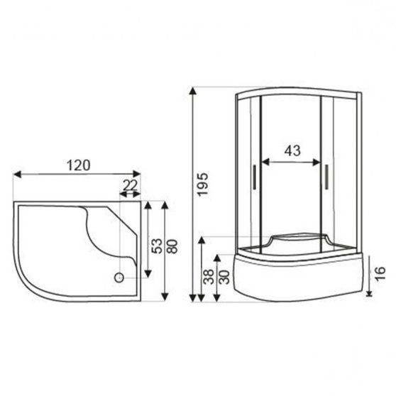 AZALIA íves aszimmetrikus mélytálcás zuhanykabin