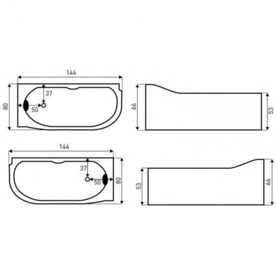 Bella Lux aszimmetrikus hidromasszázs kád, 144x80 cm-es méretben, balos beépítéssel