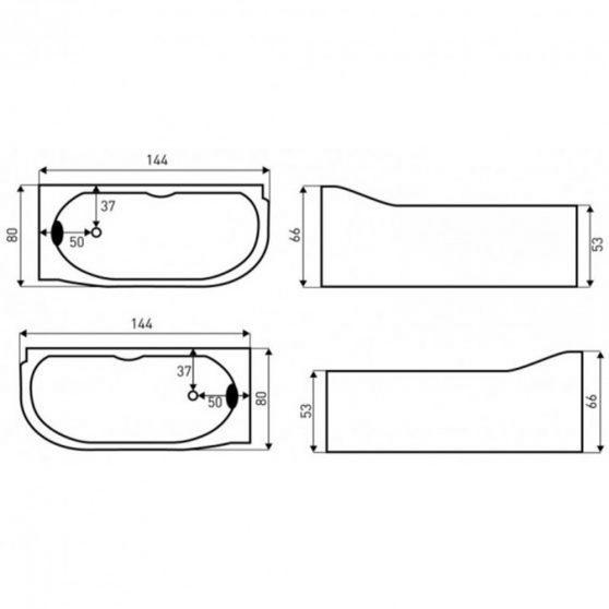 Bella Lux aszimmetrikus hidromasszázs kád, 144x80 cm-es méretben, jobbos beépítéssel