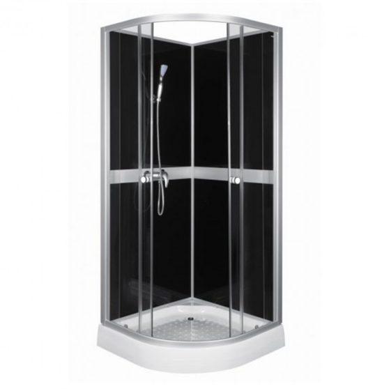 CLASSIC íves zuhanykabin fekete hátfallal + ajándék zuhanytálca