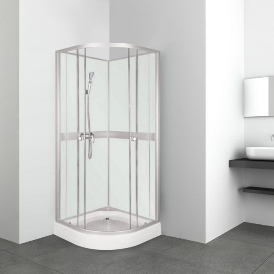 Classic 80x80 cm íves zuhanykabin fehér hátfallal zuhanytálcával
