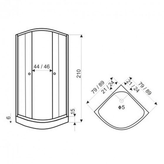 CLASSIC íves zuhanykabin szürke hátfallal zuhanytálcával