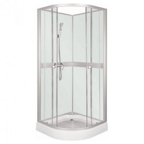 Classic 90x90 cm íves zuhanykabin fehér hátfallal zuhanytálcával