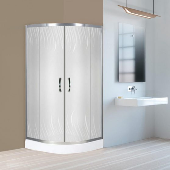 Claudia 80x80 cm íves dupla tolóajtós zuhanykabin zuhanytálcával