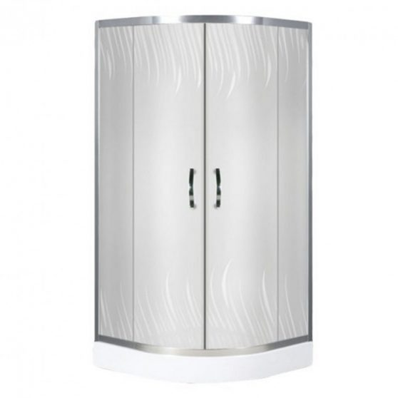 Claudia 90x90 cm íves dupla tolóajtós zuhanykabin alacsony zuhanytálcával