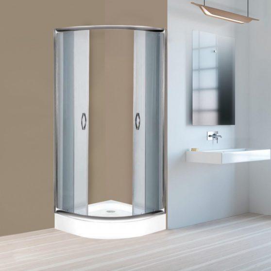 Elsa 90x90 cm íves tolóajtós zuhanykabin zuhanytálcával