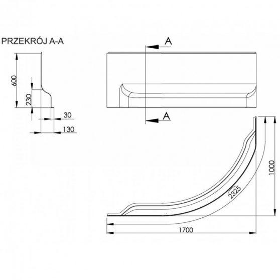 Fortuna 170 aszimmetrikus kád előlap bal