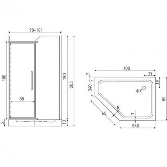 Glasgow 80x100 cm szögletes aszimmetrikus zuhanykabin zuhanytálca nélkül