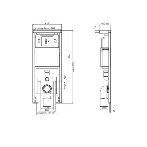 K-50 falba építhető wc tartály