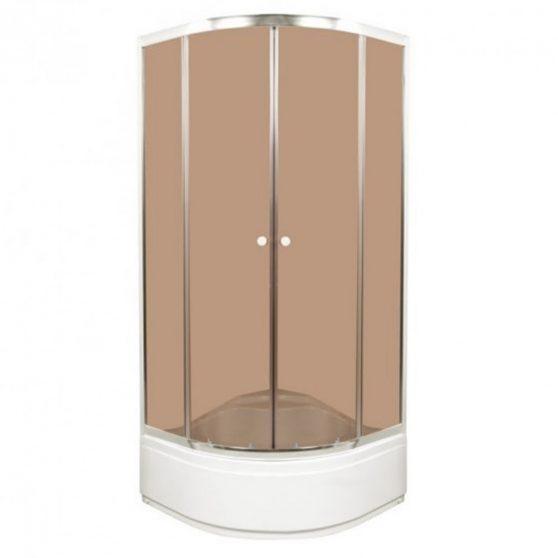 Kaja íves mélytálcás zuhanykabin barna üveg