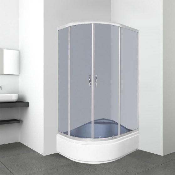 Katia 80x100 cm aszimmetrikus íves zuhanykabin zuhanytálcával