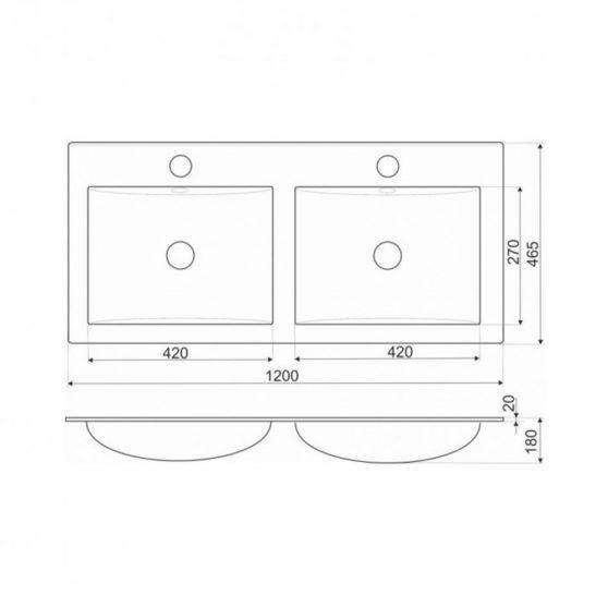 KR-120 kerámia ráépíthető dupla mosdó 120x46 cm