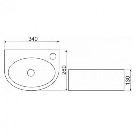 KR-601 kerámia design mosdó 34x26 cm