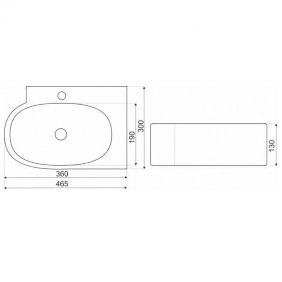 KR-607 kerámia design mosdó 46x30 cm