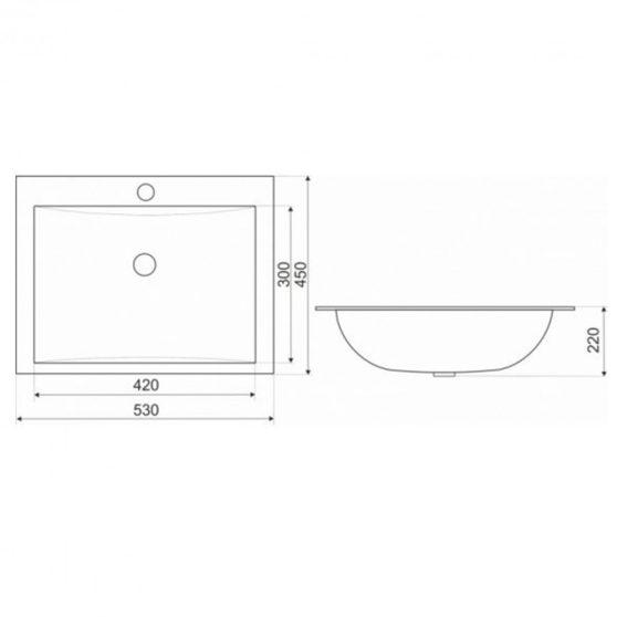 KR-709 kerámia design mosdó 53x45 cm