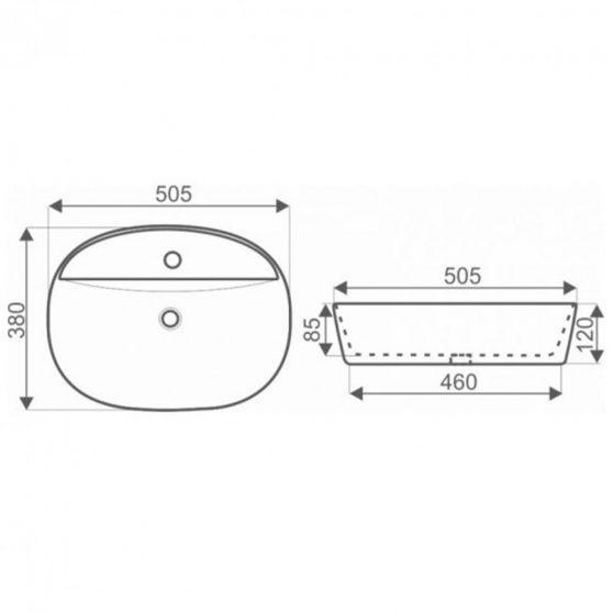 KR-860 kerámia design mosdó pultra szerelhető
