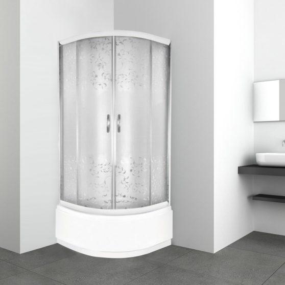 Lilia 80x80 cm íves mélytálcás zuhanykabin