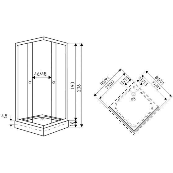 Madera 90x90 cm szögletes zuhanykabin zuhanytálcával