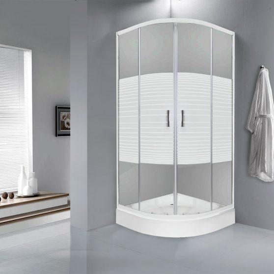 Madera 90x90 cm íves zuhanykabin zuhanytálcával
