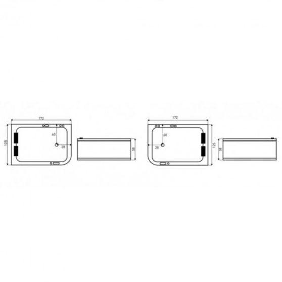 Marika Lux aszimmetrikus hidromasszázs kád 170x120 cm-es méretben, jobbos beépítéssel