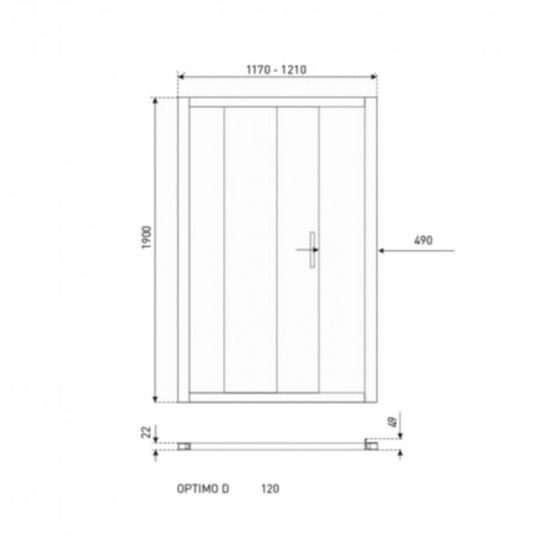 Optimo D 120x190 cm zuhanyajtó