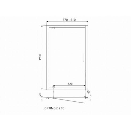 Optimo D2 90x190 cm zuhanyajtó