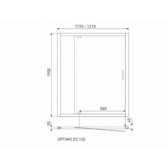 Optimo D3 120x190 cm zuhanyajtó