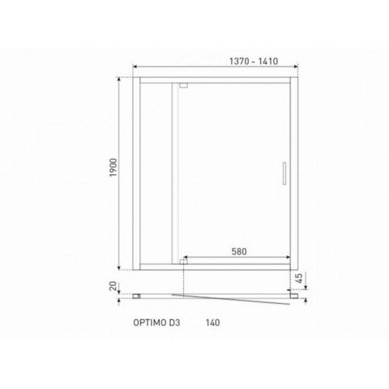 Optimo D3 140x190 cm zuhanyajtó