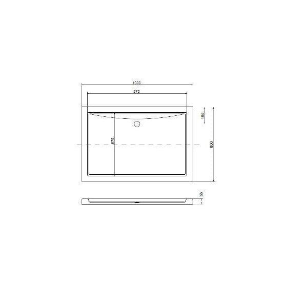 Oskar aszimmetrikus akril zuhanytálca - alacsony 100x80 cm