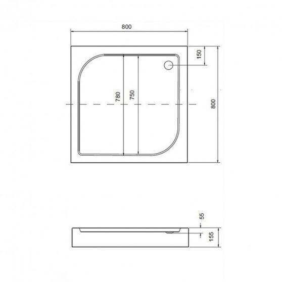 Oskar szögletes akril zuhanytálca - alacsony 80x80 cm