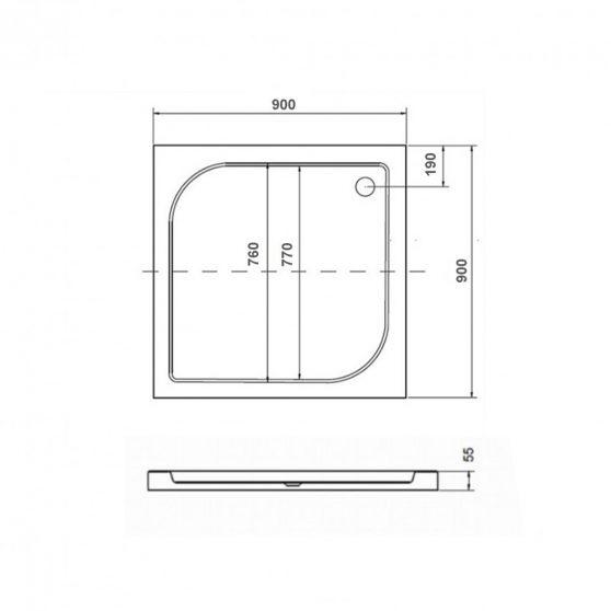 Oskar szögletes akril zuhanytálca - alacsony 90x90 cm