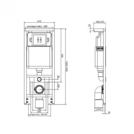 OTTAWA-SET falba építhető WC tartály szettben OTTAWA wc-vel
