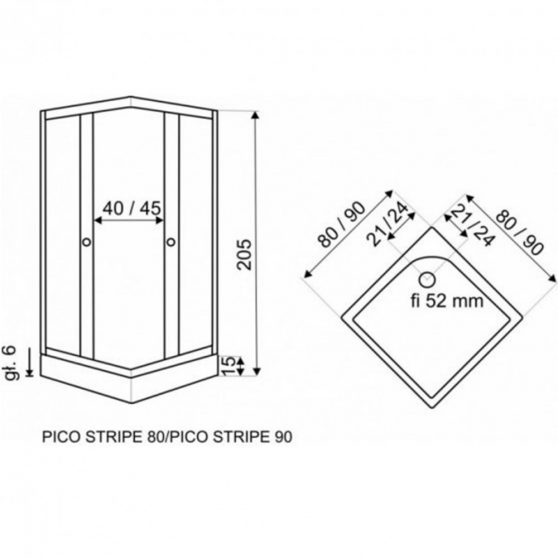 PICO 80x80 cm szögletes zuhanykabin zuhanytálcával