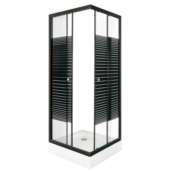 PICO Black stripe 80 szögletes zuhanykabin zuhanytálcával
