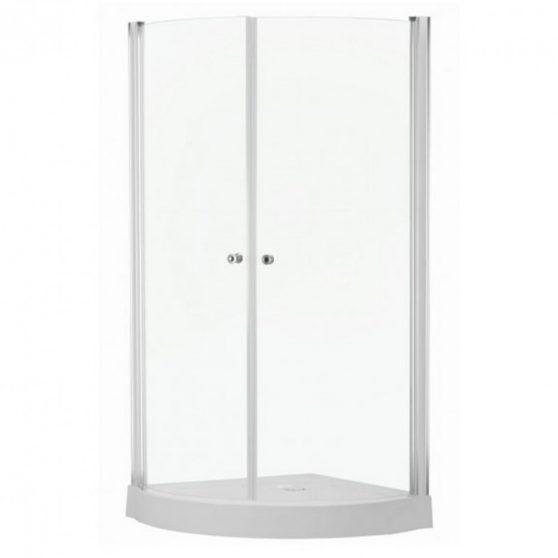 PRAGA íves nyílóajtós zuhanykabin zuhanytálcával