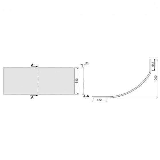 SIMPLA 100x150 aszimmetrikus kád előlap