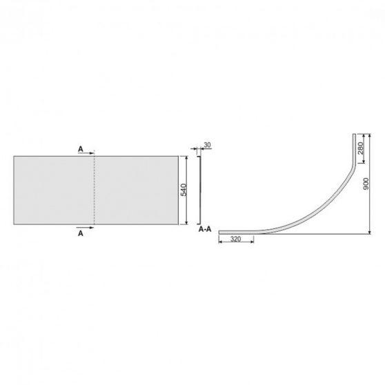 SIMPLA 140 aszimmetrikus kád előlap