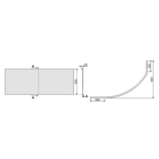 SIMPLA 145 aszimmetrikus kád előlap