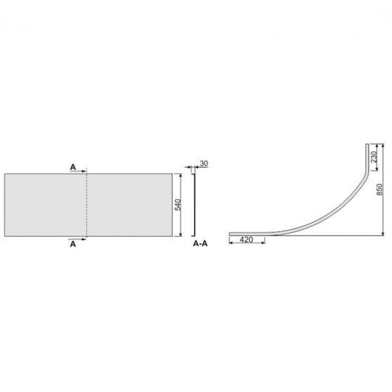 SIMPLA 85x150 aszimmetrikus kád előlap