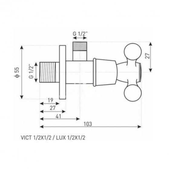 VICT1/2x1/2 retro sarokszelep króm
