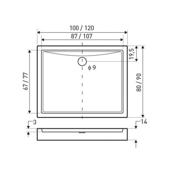Victor univerzális szögletes zuhanytálca 120x90 cm