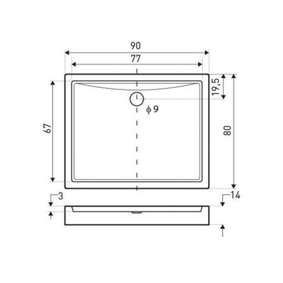 Victor univerzális szögletes zuhanytálca 90x80 cm