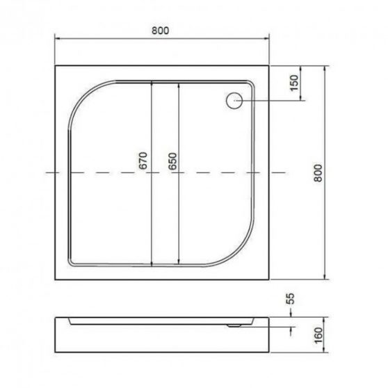 Victor univerzális szögletes zuhanytálca 90x90 cm