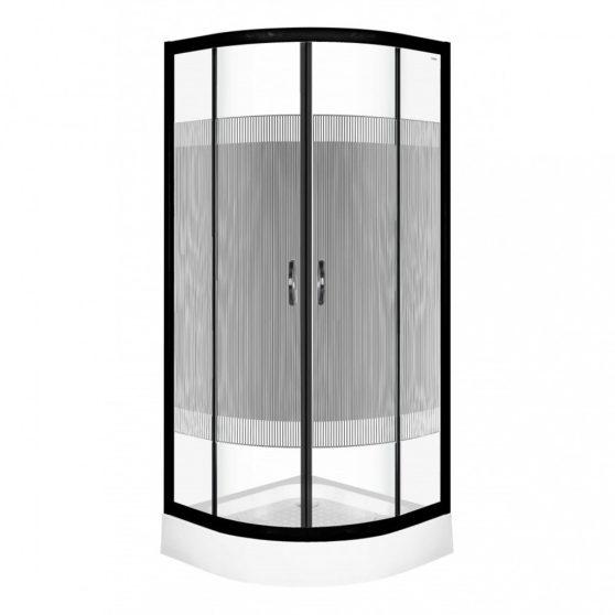 Xenia Duo Black 80x80 cm Íves zuhanykabin zuhanytálcával