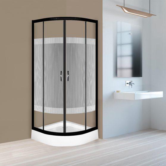 Xenia Duo Black 90x90 cm Íves zuhanykabin zuhanytálcával