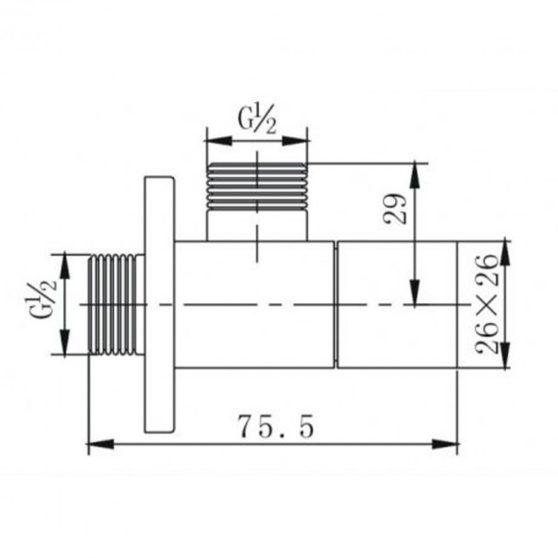 ZKCH1/2x1/2 szögletes sarokszelep króm
