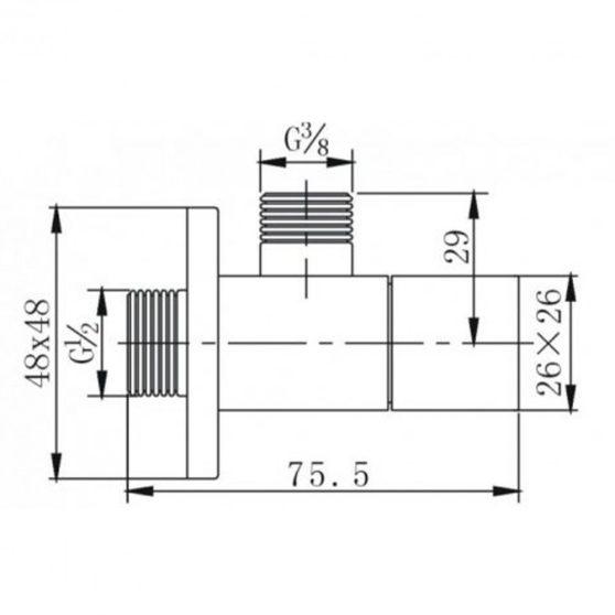 ZKSS1/2x3/8 szögletes sarokszelep szálcsiszolt nikkel